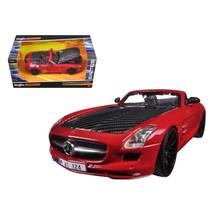 Mercedes SLS AMG Red/Black Carbon Fiber Hood \Exotics\ 1/24 Diecast Mode... - $38.54