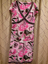Tahari Arthur Levine Pinks Browns Retro VIntage Inspired Flutter Jersey ... - $19.89