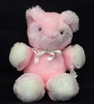 "Eden Pink Teddy Bear 7"" Plush Rattle Stuffed Animal Baby Toy Lovey Vintage 1980s - $34.95"
