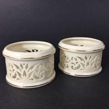 Set of 2 LENOX Pierced Tea Light Candle Holders Cut Out Votive Gold Fili... - $13.25