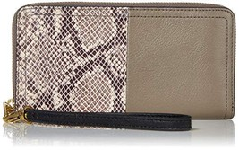 Fossil Logan RFID Zip Around Clutch Wallet (Taupe Python) - $100.99