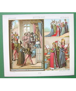 COTUME Court of King Louis XI - Ladies SIngers - COLOR Litho Print by A.... - $9.45