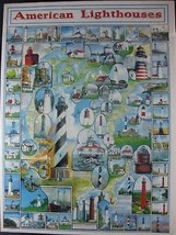 American Lighthouses 1000 Piece Jigsaw White Mountain Sealed Puzzle 24x30 - $14.97