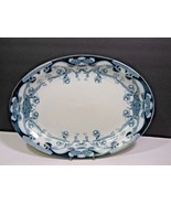 "Royal Staffordshire 14.5"" Flow Blue IRIS Serving Platter Burslem England  - $148.50"