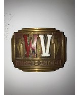 Vintage WV High School Invisible Giant Grip Brass Belt Buckle Unique - $12.19