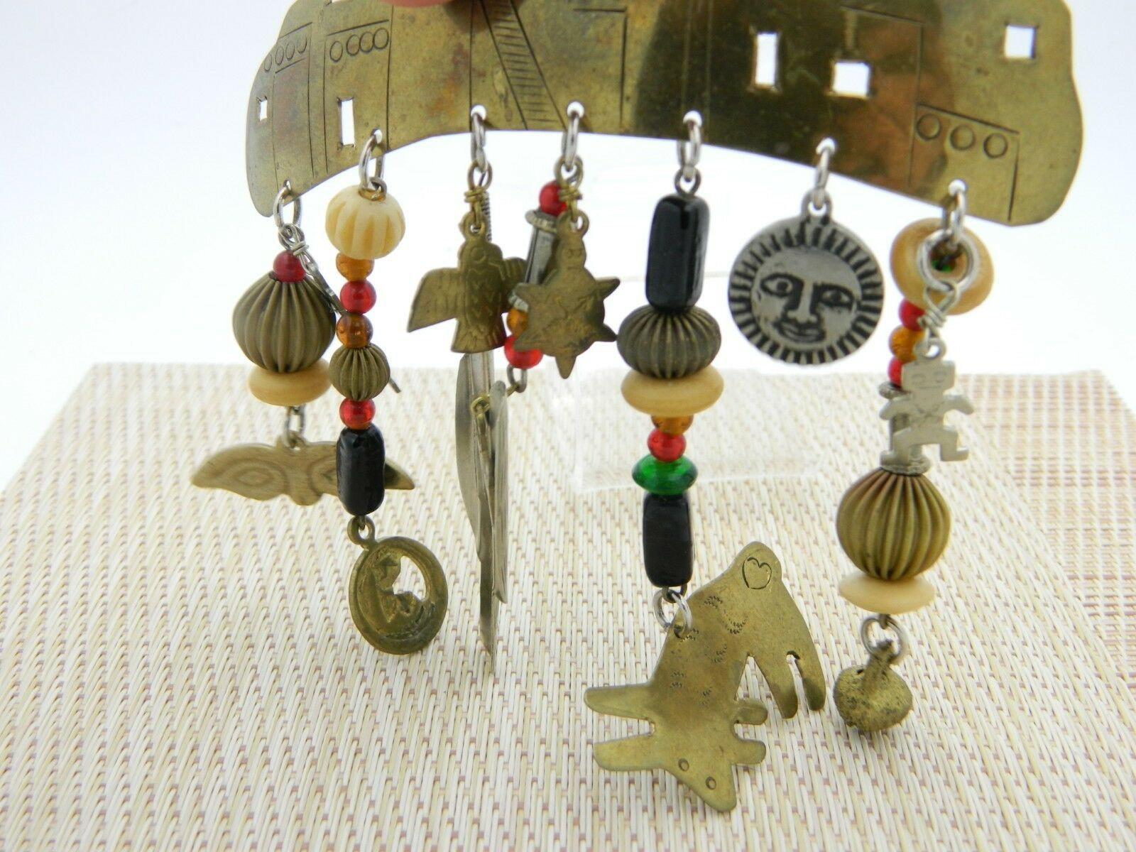 Southwest Mix Material Dangle Brass Charm Pin Brooch Vintage image 3