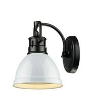 Golden Lighting Duncan Collection Black 1-Light Sconce Light with White Sha - $49.74