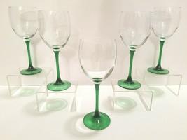 "5 VTG Luminarc France 8"" Green Emerald Stem Wine Retro Drinking Goblet G... - $55.31"