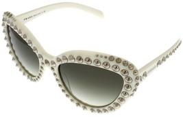 Prada Sunglasses Women Off White With Stud Detailing Cateye PR31QS 7S30A7 - $395.01