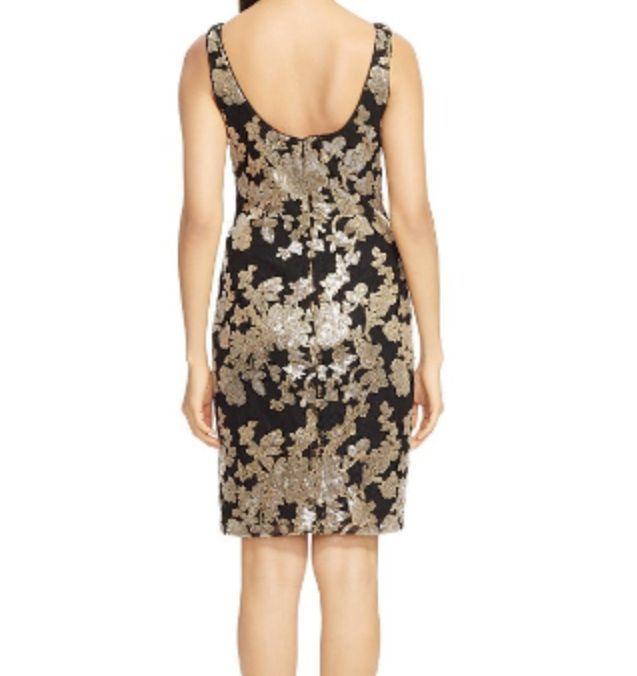 NWT Lauren Ralph Lauren Black/ Gold Sequined Sleeveless Sheath Dress $240