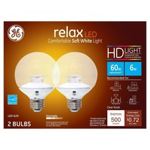 NEW GE Relax LED Bulb 2-Pack Soft White HD Light G25 Globe Dimmable 6w 6... - $13.31