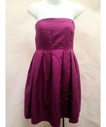J Crew 8 Dress Strapless Magenta Purple Empire Waist Pleated Party Bride... - $32.32
