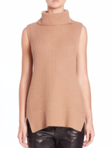 VINCE Directional Rib Wool-Cashmere Sleeveless Turtleneck Sweater NWT, S... - $122.80