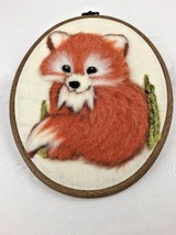 Vintage Handmade Punch Needle Embroidery Fox Framed Wall Decor - $30.00