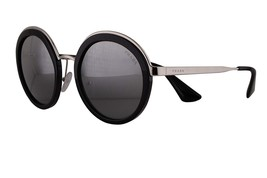 NEW AUTHENTIC PRADA PR50TS Metal Round Sunglasses Black Silver Gradient ... - $176.42