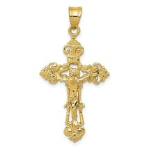 14K Yellow Gold INRI Fleur De Lis Crucifix Cross Charm Pendant 1.62 Inch - $157.10