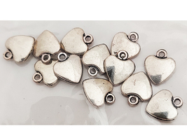 Antique Silver Heart Charms #8725