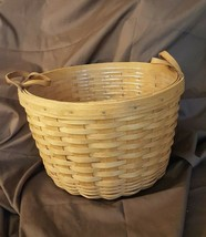 Longaberger 1992 WILDFLOWER Basket With Leather Strap Handles, Plastic P... - $39.95