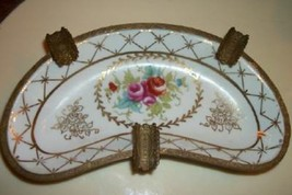 Antique French Sevres Porcelain Bronze Ormolu Ashtray Rose Chic Paris Ap... - $65.54