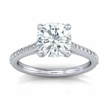 2.20CT Cushion Cut Forever One Moissanite White Gold Ring With Diamonds - $1,335.02+