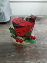 Christmas House, Red Plaid Hat Ornament new - $13.81