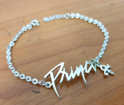 Bracelet - Iconic Name - with Dangling Symbol - Sterling Silver - Handmade - $65.00