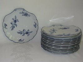 12 Snack Tea Plates Blue Dresden China 1957 Sphinx Import Co Clamshell 8... - $41.57