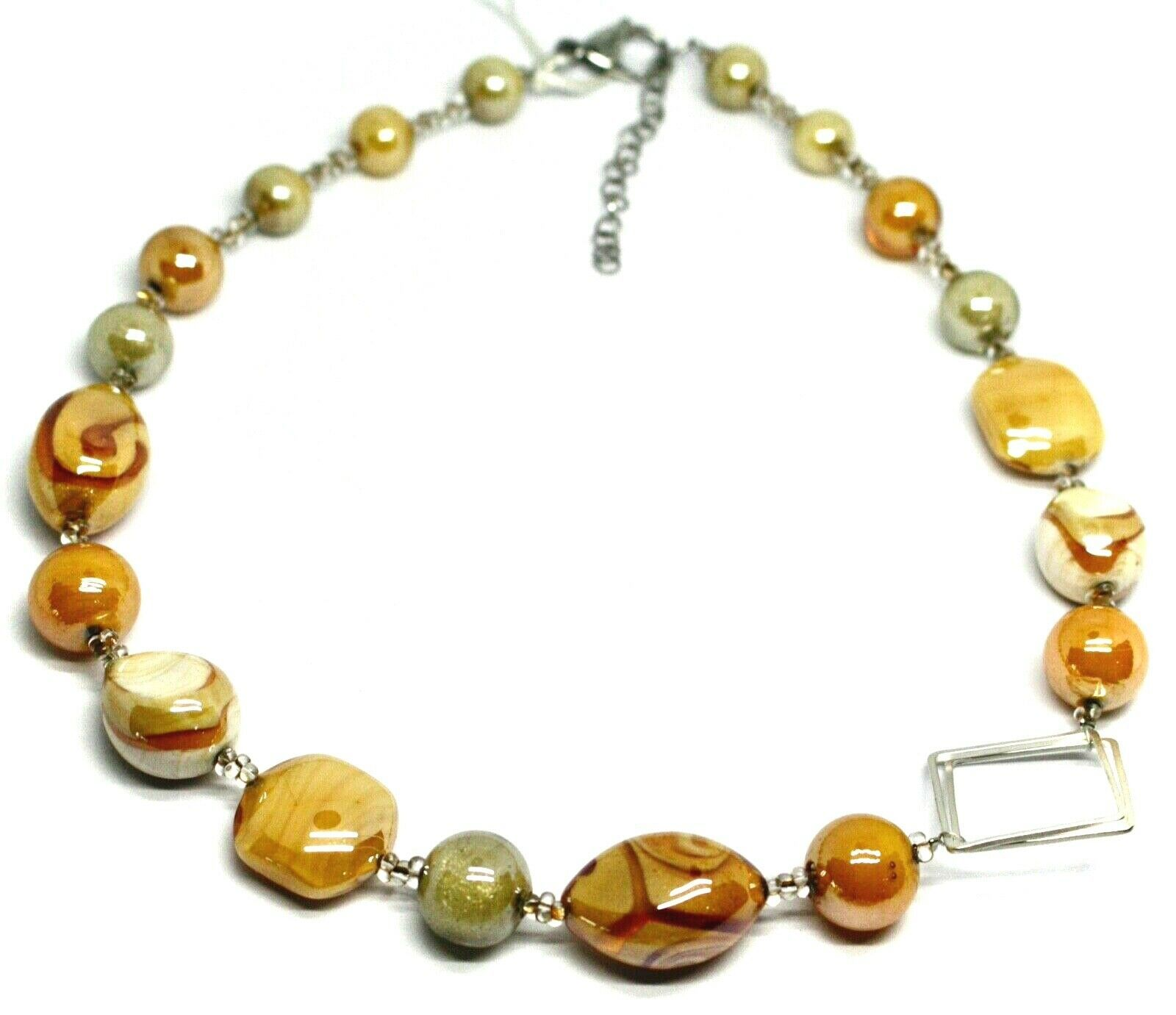 NECKLACE ORANGE WHITE ROUNDED DROP SPHERE, EXAGON MURANO GLASS SQUARE ITALY MADE