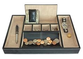 Black Leatherette Valet Tray Desk Dresser Drawer Coin Case Catch-all for... - $35.12