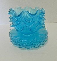Ruffled Embossed Square Textured Glass Dessert Bowls w/ Saucers 4 Blue Sets - $24.63