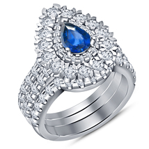 Pear Shape Sapphire & Round Cut CZ In White Gold Fn. 925 Silver Wedding Ring Set - $141.99