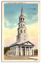 1964 St. Michael Church, Charleston, SC Postcard - $5.48