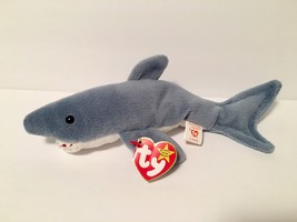 Ty Beanie Babies Plush Beanbag Crunch the Shark Grey White - $7.78