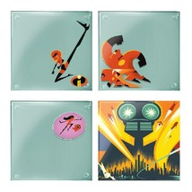 The Incredibles 2 Movie Art Images 4 Piece Set of Clear Glass Coasters NEW - $11.64