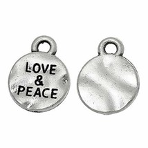 Peace and Love 13mm Antiqued Silver Plate Pendant Charms 10 pcs - $9.80