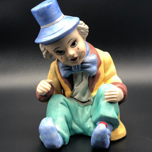 SAD PORCELAIN CLOWN STATUE vintage circus figurine scary carnival red te... - $39.55