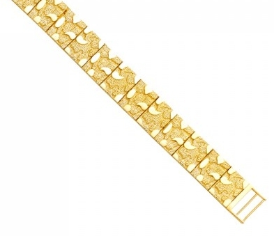 Men's 14K Yellow Gold Flat Nugget Bracelet image 2