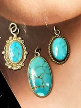 3 Small Vintage Pendants Sterling Silver with Turquoise Cabochons - £36.93 GBP