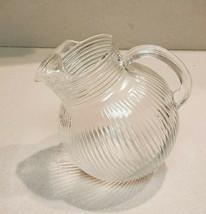 Vintage Depression Glass Clear Rimmed Angled Pitcher - $19.75