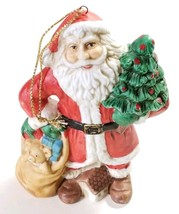 Vintage Silvestri Ceramic Santa Claus Christmas Ornament Tree Gifts Tedd... - $14.50
