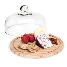 cheese board rustic, Round Bamboo Cupola Dome serving elegant cheese boards - $56.99