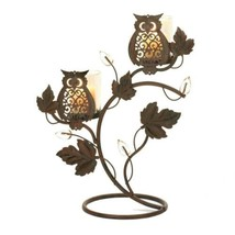Wise Owl DUO Candle Holder Stand Bird Iron Glass SL 10016361 - $17.74