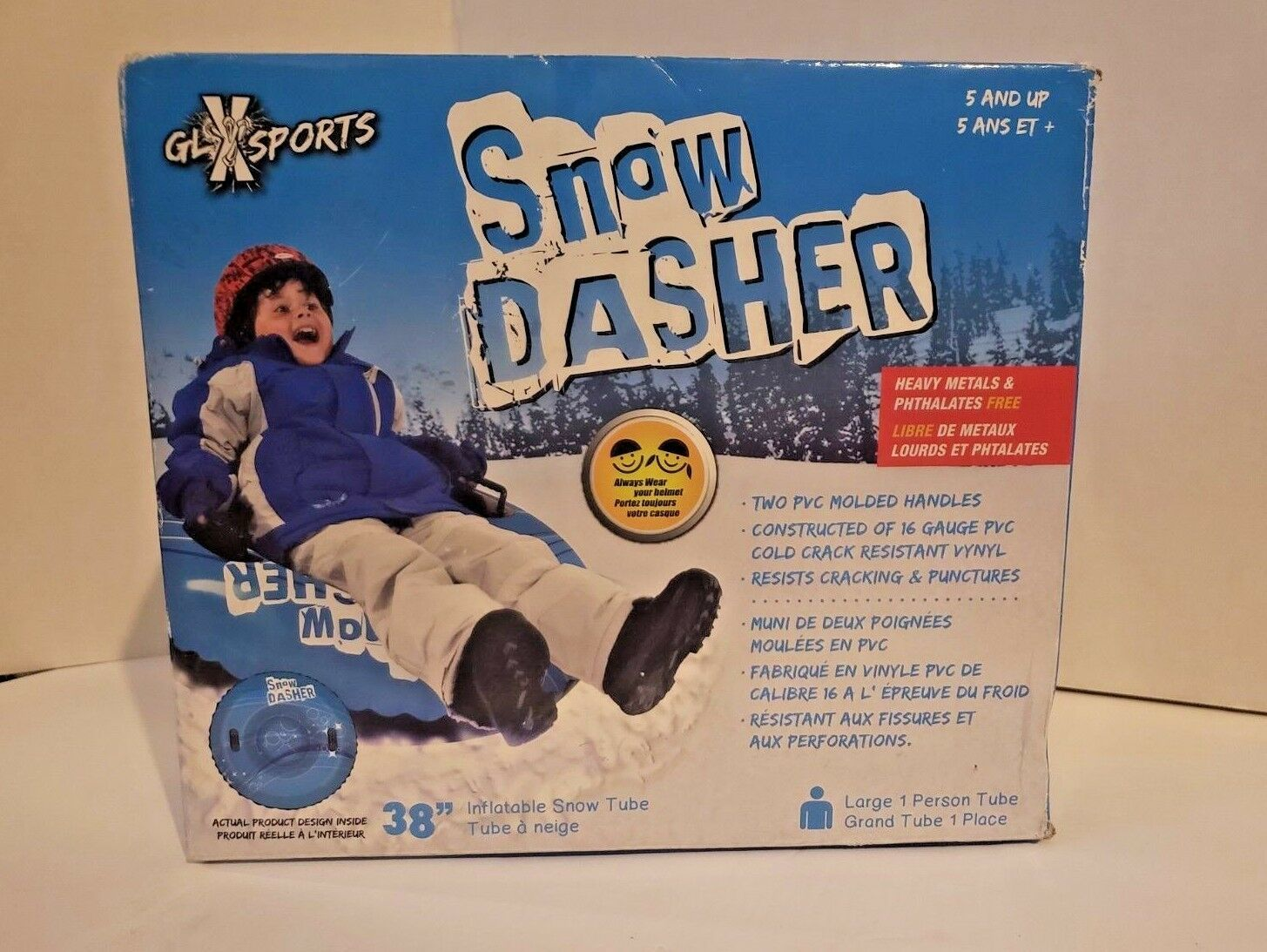 """GLX Sports Snow Dasher...Large 1 Person 38"""" Inflatable Snow tube...."""