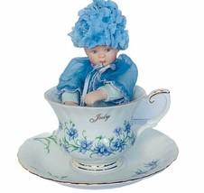 Ashton Drake flower babies month baby doll teacup saucer July Larkspur f... - $58.00