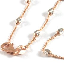 """18K ROSE & WHITE GOLD ROLO ALTERNATE CHAIN NECKLACE 3mm FACETED OVAL BALLS 16"""" image 4"""