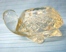 Turtle Sparkling Clear Pressed Glass Votive Candle Holder 1970's Avon - $18.75