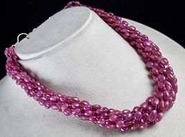 PINK RUBY BEADS CABOCHON 9 LINE 780 CARATS GEMSTONE 18K GOLD LADIES NECKLACE image 3