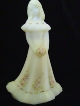 Fenton Art Glass White Satin Bridesmaid Doll Figurine 1995 Kristens Floral - $149.59