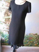 Donna Morgan Black Cocktail Evening Short Sleeve Ruffled Bottom Dress Size 4  - $39.59