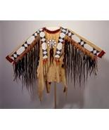 Men Native American Buckskin Tan Buffalo Leather Beaded Powwow War Shirt... - $359.10